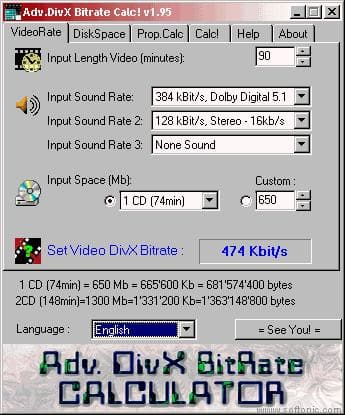 Advanced DivX bitrate calculator