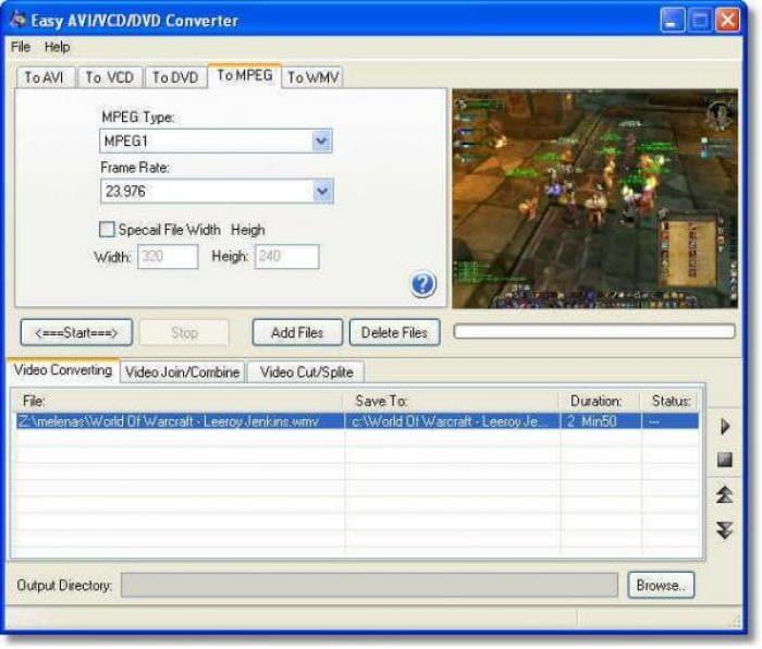 Easy AVI/VCD/DVD/MPEG Converter