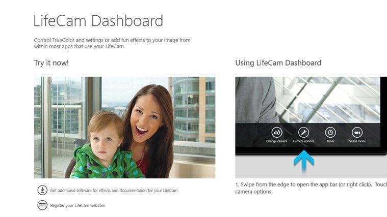 LifeCam Dashboard for Windows 10