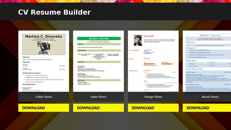 cv resume builder - download - Free Resume Builder And Downloader
