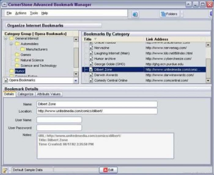 CornerStone Advanced Bookmark Manager