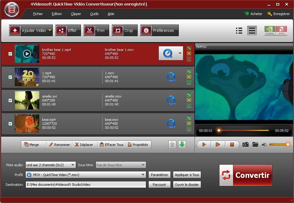 4Videosoft QuickTime Vidéo Convertisseur