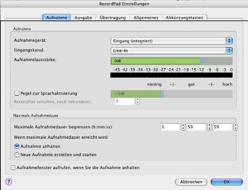 RecordPad Audiorekorder für Mac