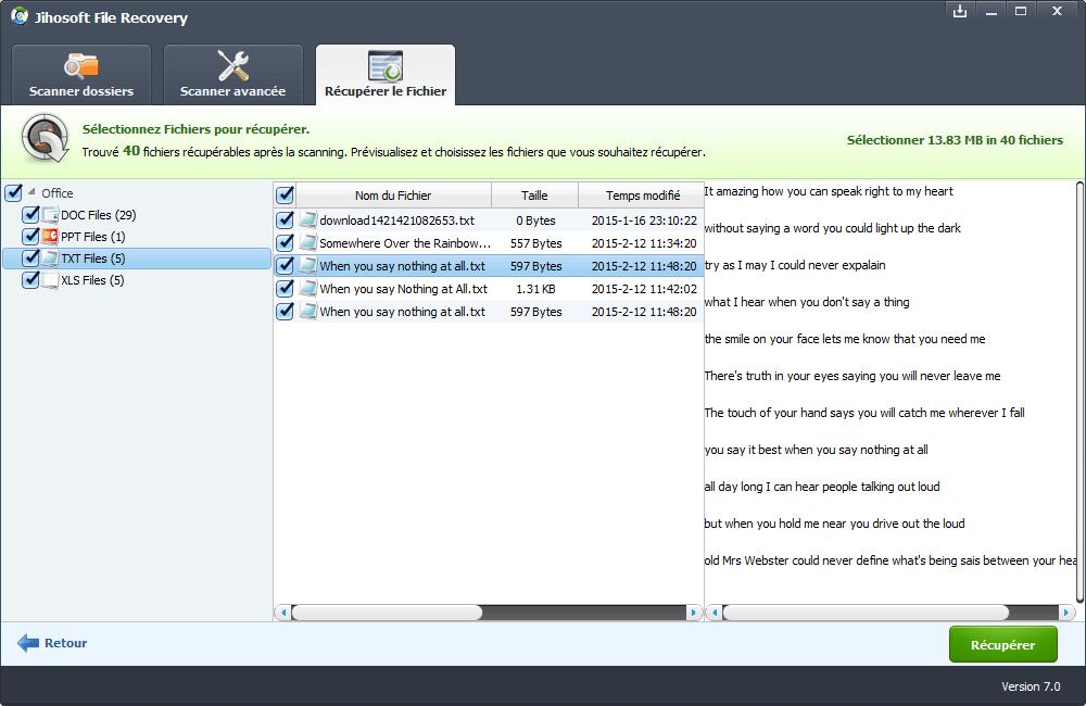 Le programme de récupération de données