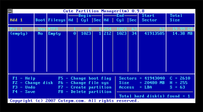 Cute Partition Manager