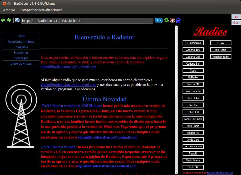 Radietor GNU-Linux