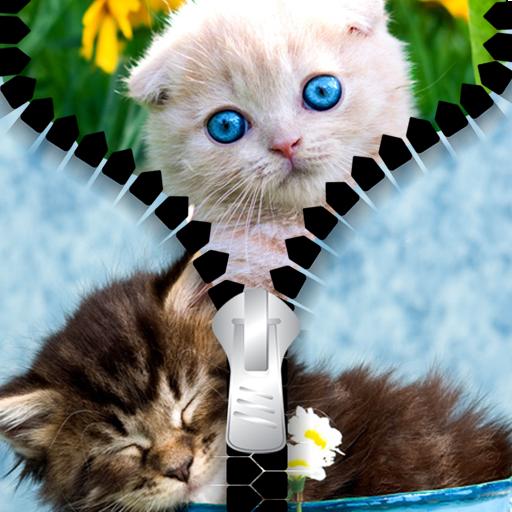 Kitty Zipper Lock Screen
