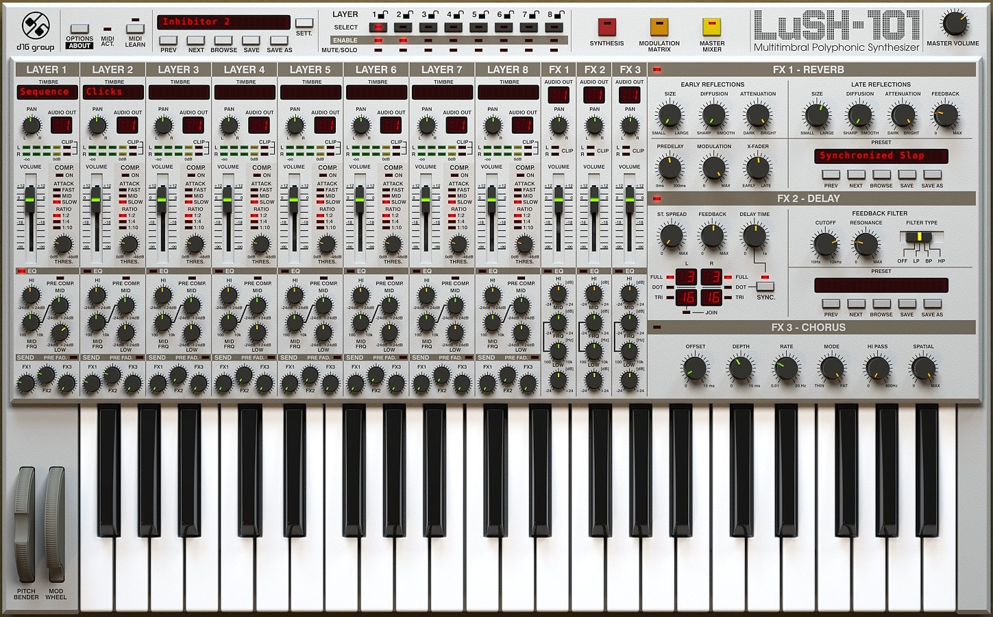 LuSH-101 Multitimbral Polyphonic Synthesizer