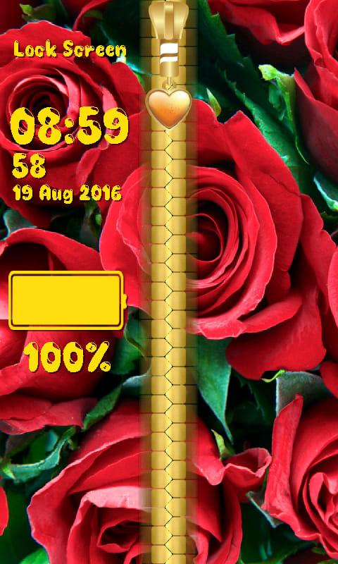 Rose Flower Zipper Lock Screen