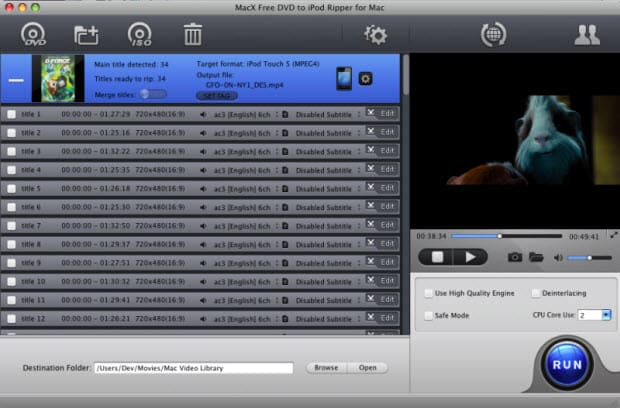 MacX Free DVD to iPod Ripper for Mac