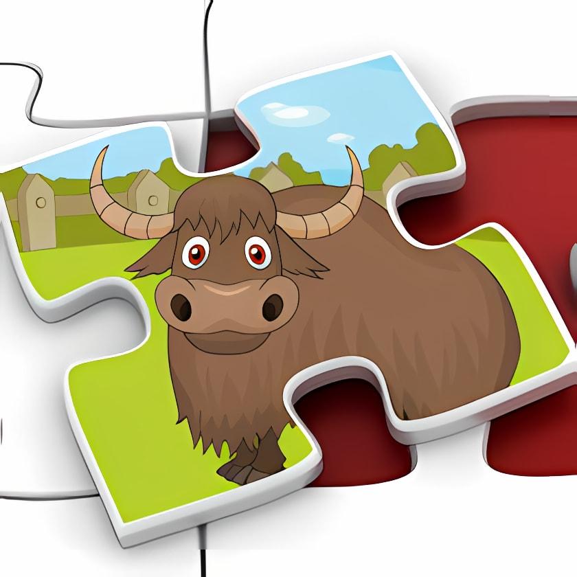Kids Zoo Animal Jigsaw Puzzle Shapes