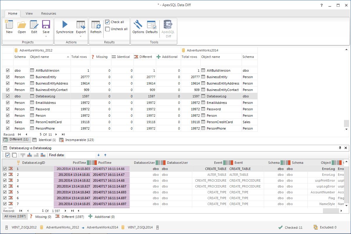 ApexSQL DataDiff