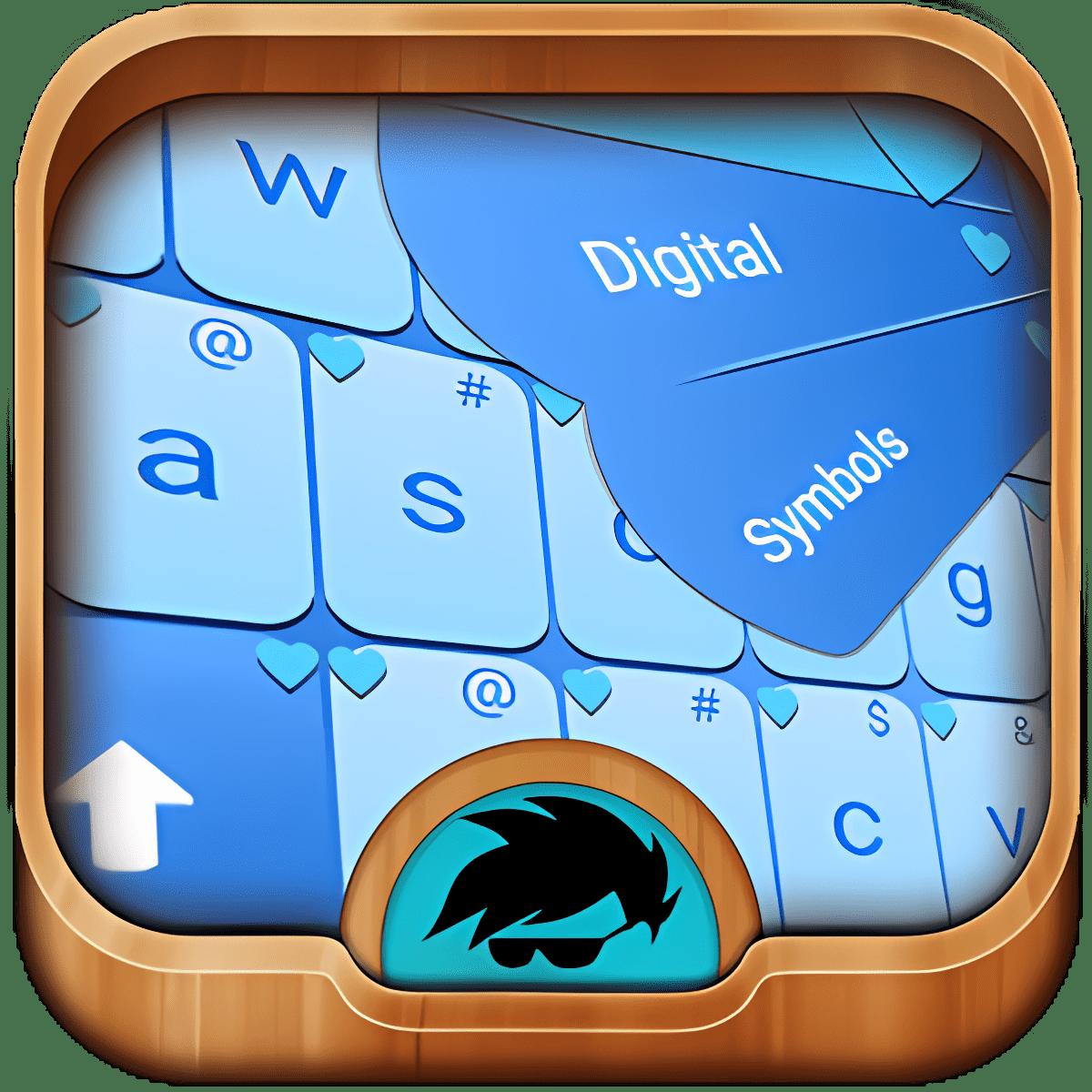 Corazones azules del teclado