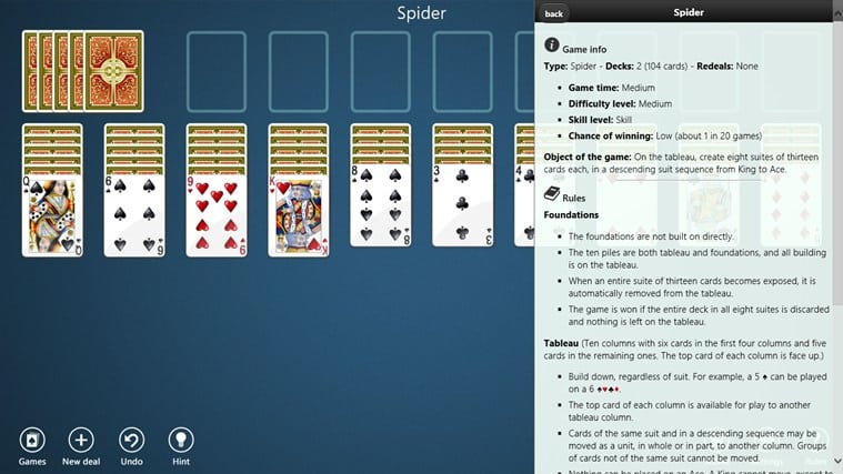 Spider Solitaire Collection Free for Windows 10