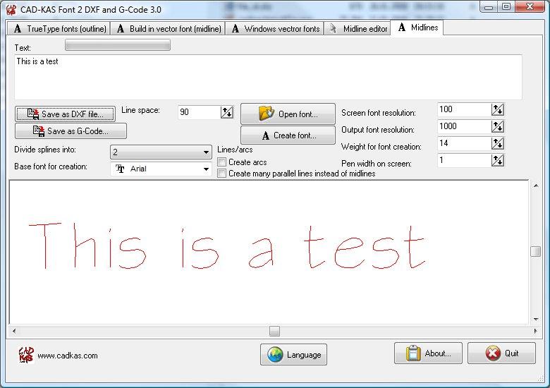 Schrift zu DXF und G-Code