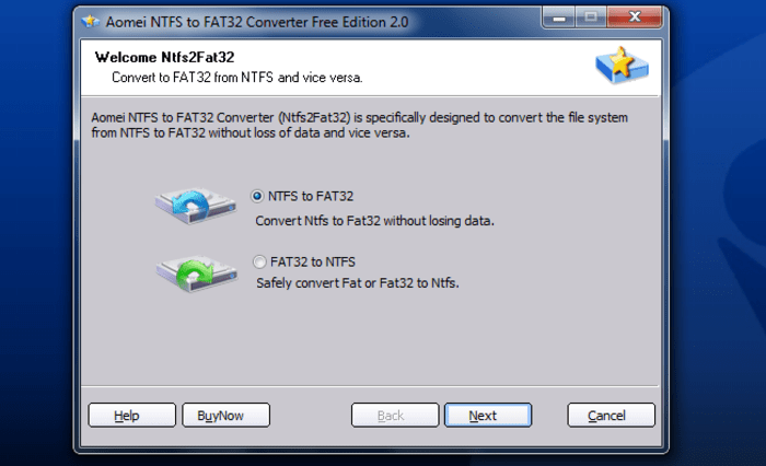 Aomei NTFS to FAT32 Converter