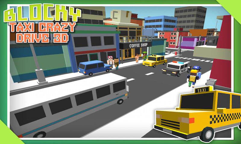 Blocky Taxi Crazy Drive 3D