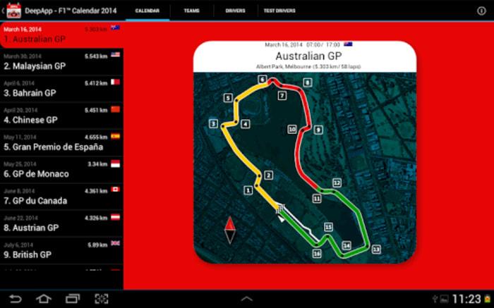 DeepApp - F1 ™ Calendar 2014