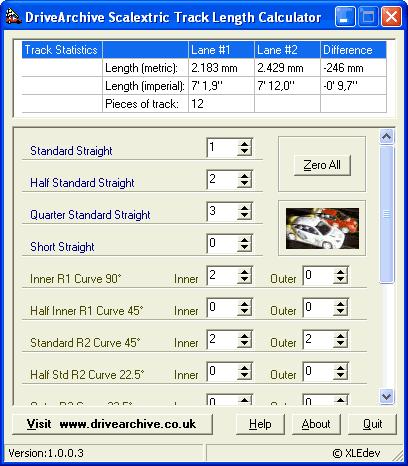 Scalextric Track Length Calculator