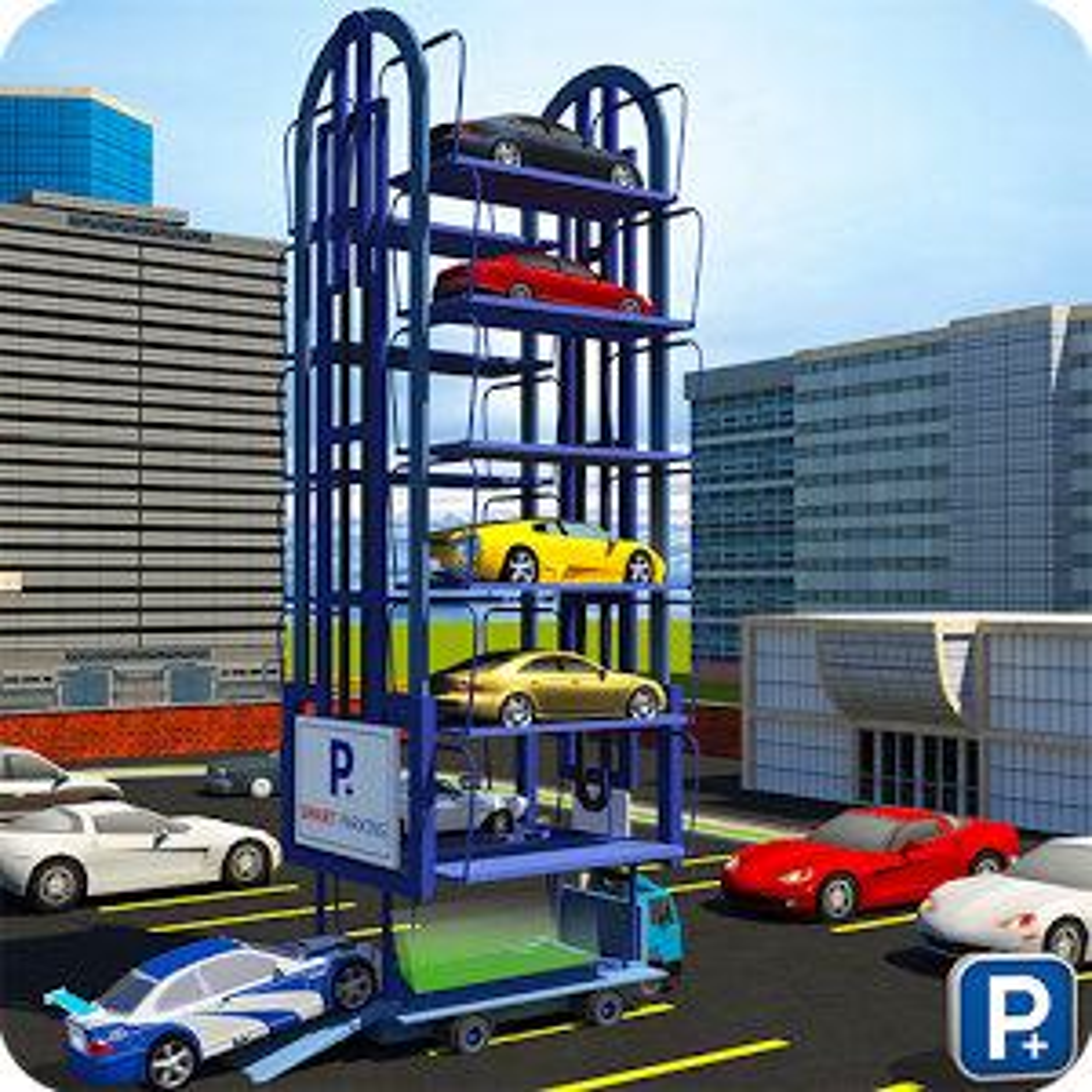 Smart Car Parking Crane 3D Sim
