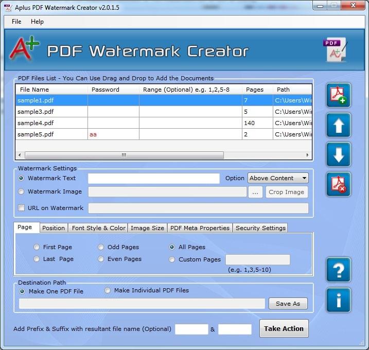 Aplus PDF Watermark Creator
