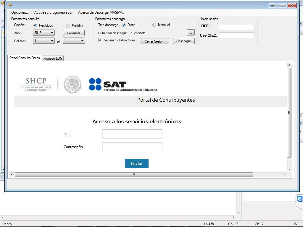 Descarga masiva xml del SAT de Facturas CFDi
