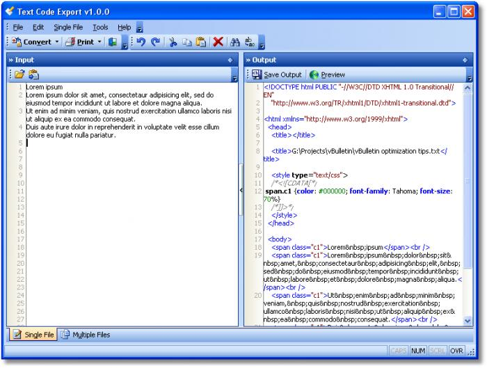 Text Code Export