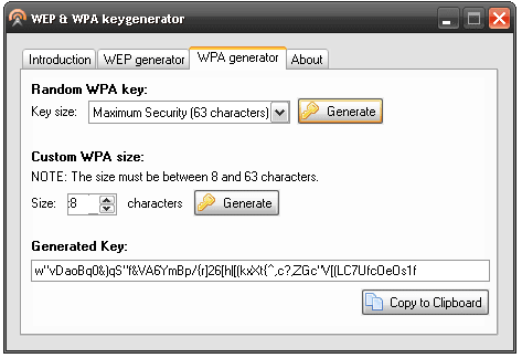 WEP and WPA Key Generator