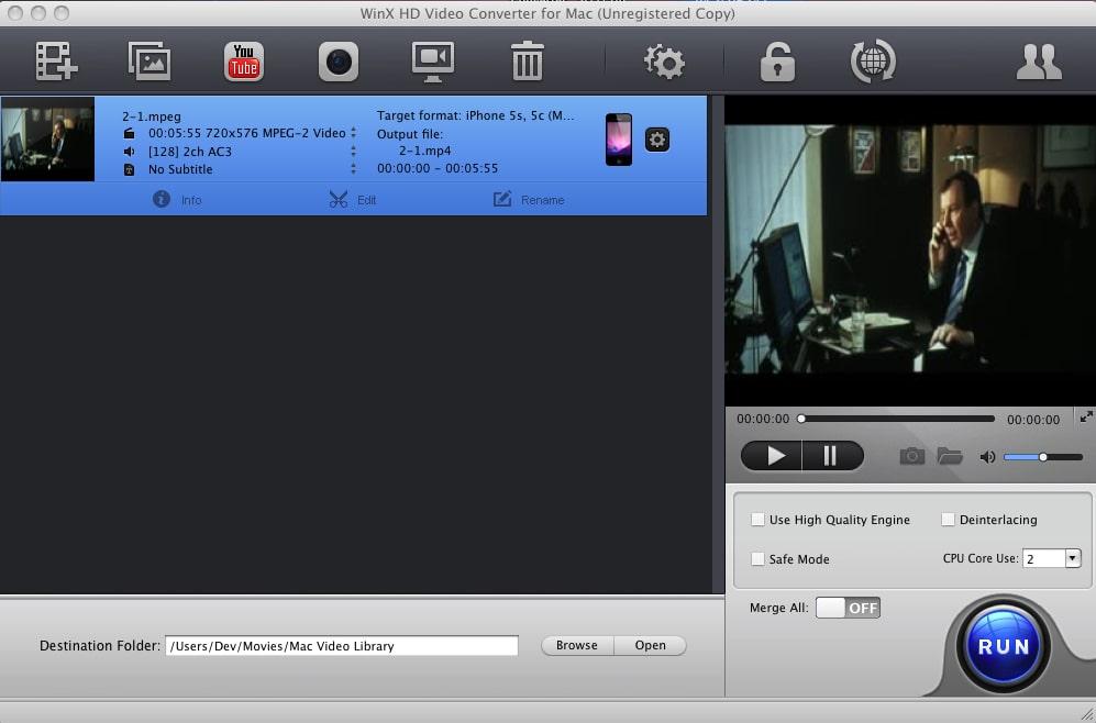 WinX HD Video Converter for Mac
