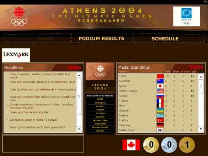 2004 Olympic Games Screensaver