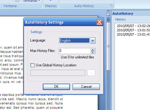 AutoHistory for Word