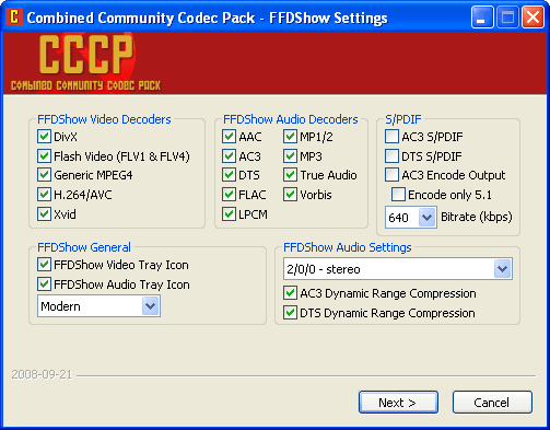 Combined Community Codec Pack (CCCP)