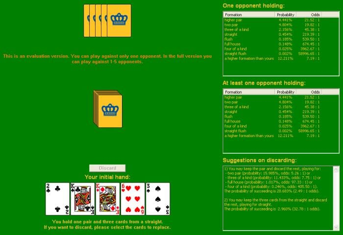 Draw Poker Odds Calculator