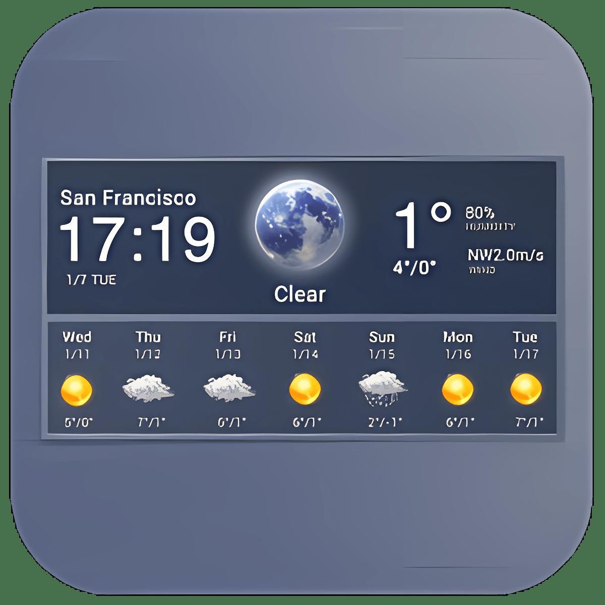 7 Day Weather & Clock Widget