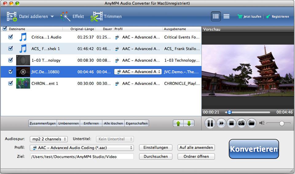 AnyMP4 Audio Converter für Mac