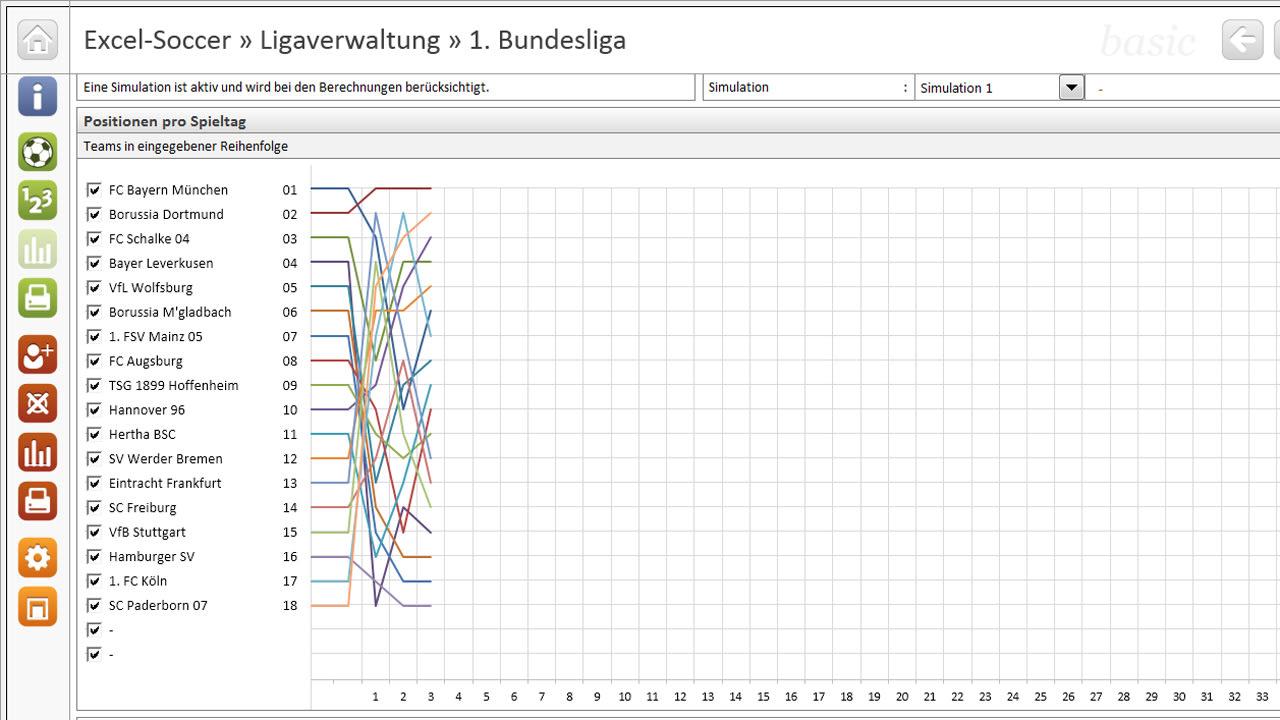 Excel-Soccer Ligaverwaltung 1. Bundesliga