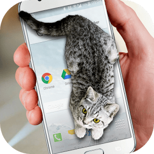 Cat Walks in Phone Cute Joke Varies with device