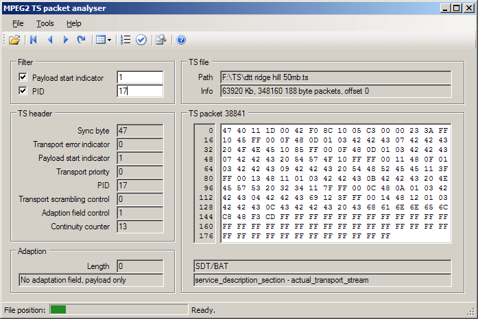 MPEG2 TS Packet Analyser