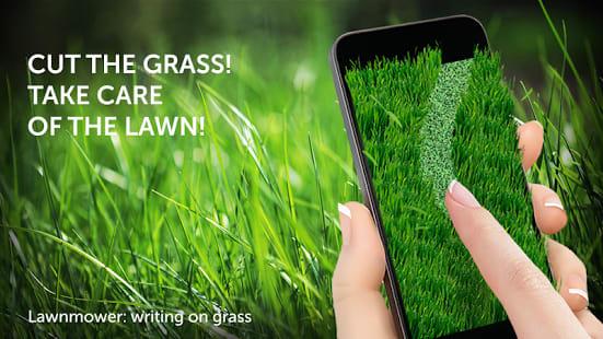 Lawnmower: writing on grass