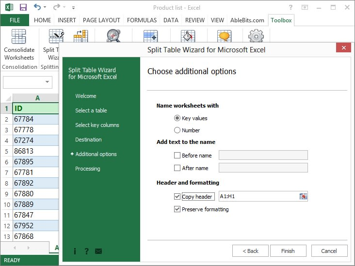 Split Table Wizard for Microsoft Excel
