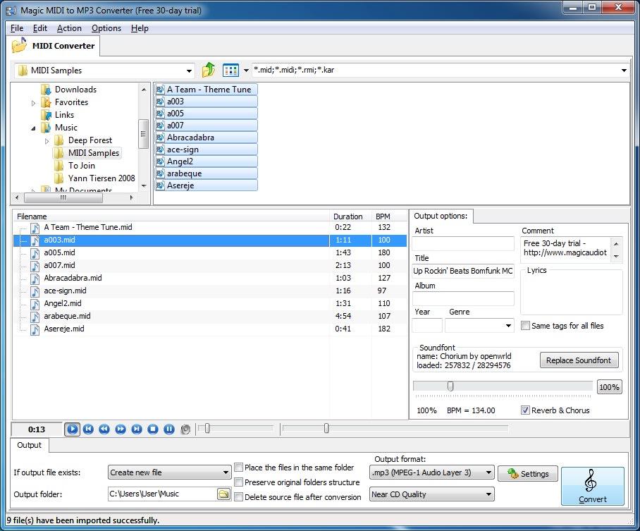 Magic MIDI to MP3 Converter