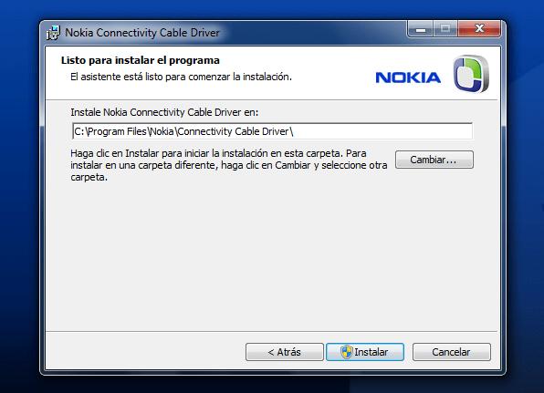 Driver para Cables USB CA y DKU de Nokia
