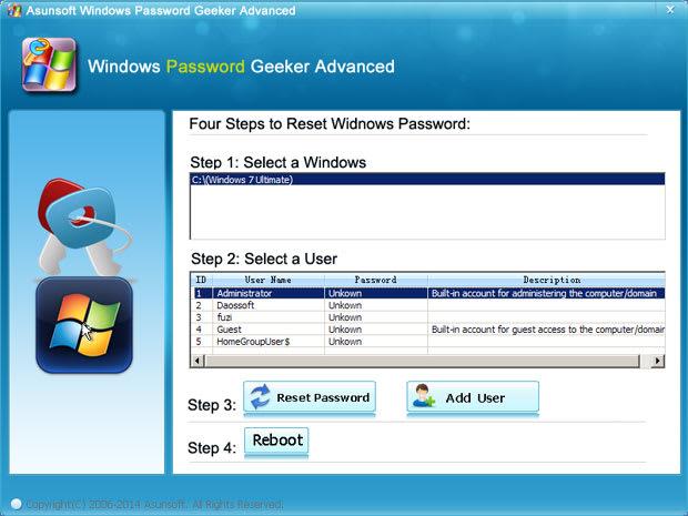 Windows Password Geeker Advanced