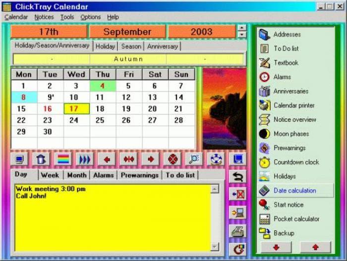 ClickTray Calendar