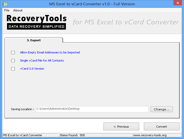 RecoveryTools Excel to vCard Converter