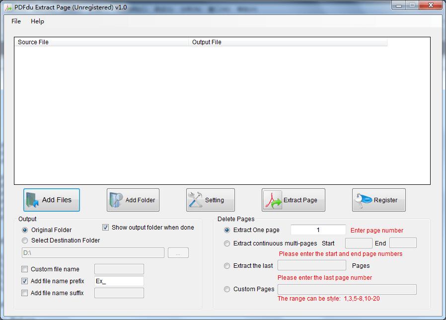 PDFdu Extract Page