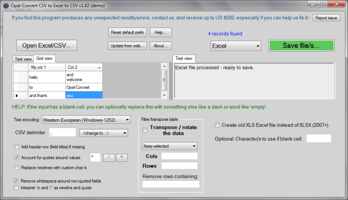Opal-Convert CSV to Excel to CSV
