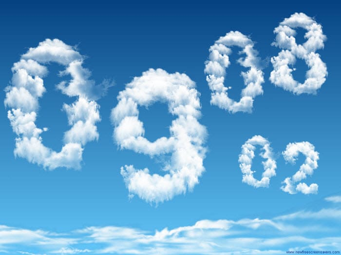 Digital Clock Clouds Screensaver