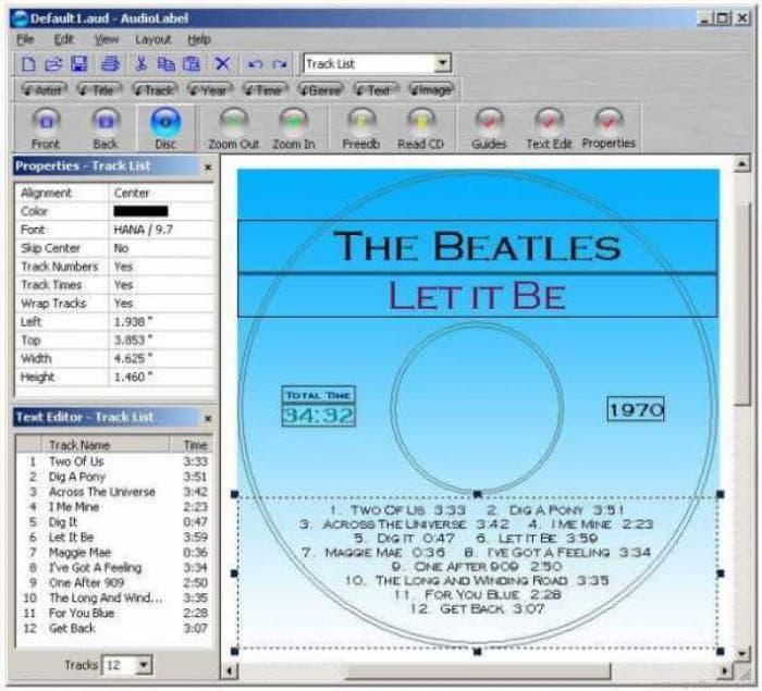 AudioLabel CD Label Maker