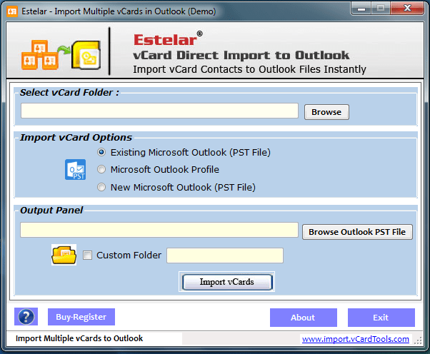 Outlook vCard Import